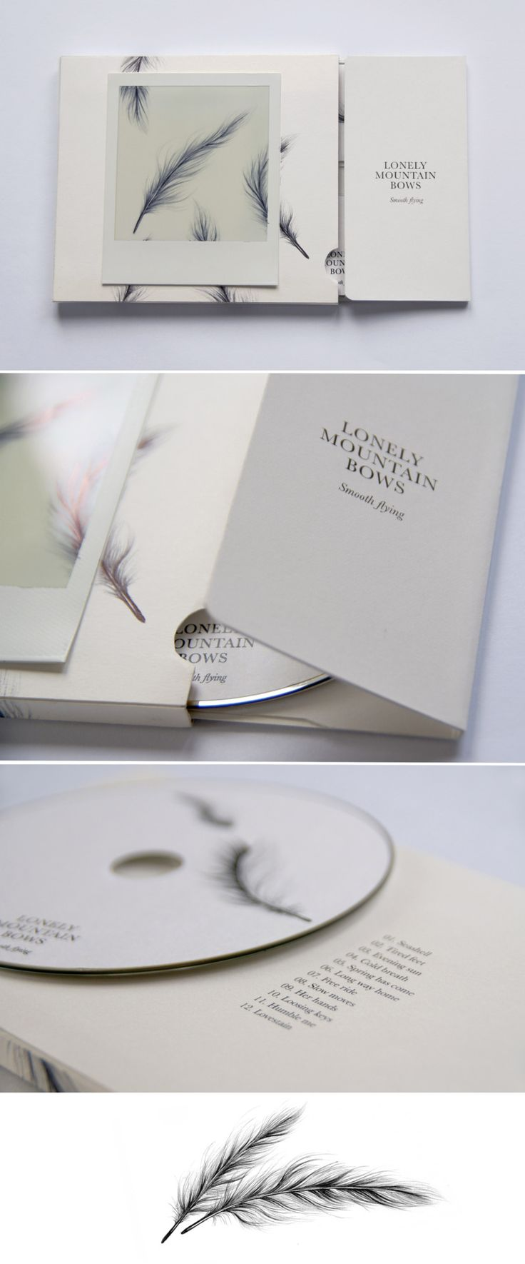 Branding:  Music CD cover design for Lonely Mountain Bows. Alternative folk group from France, Portugal and Argentina.  Packaging realized combining feather illustrations, a very simple typography and different paper textures (smooth satineé paper, Polaroid, and cardboard).