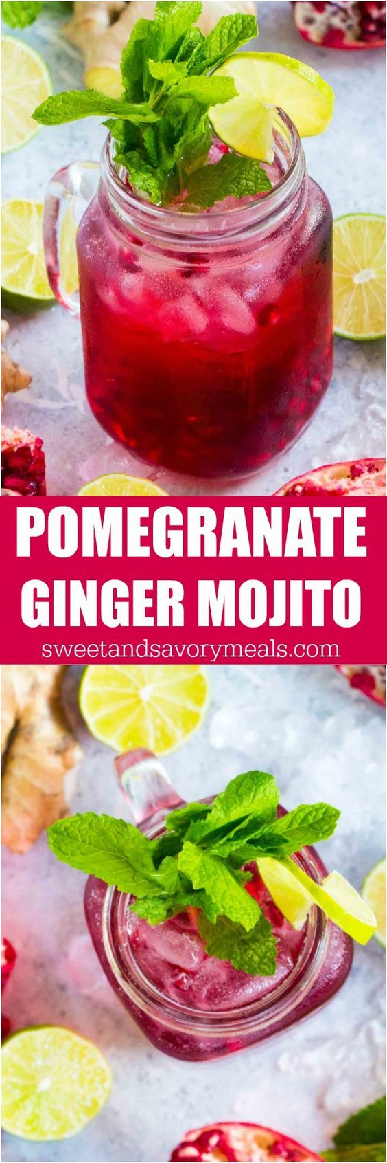 Ginger Pomegranate Mojito made with fresh ginger is the perfect fall drink. With a gorgeous color and a sweet, refreshing taste, this will become your go to drink. #mojito #pomegranates #Cocktail