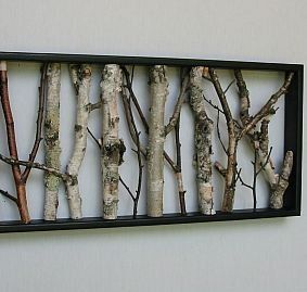 urban rustic home decor birch wall hanging black and white open