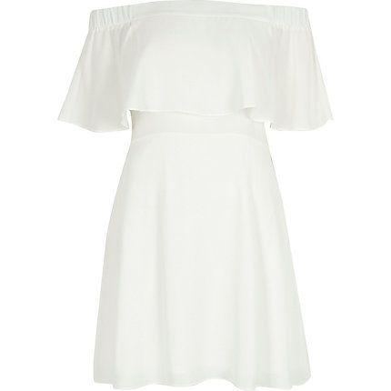 Cream deep frill bardot dress €43.00