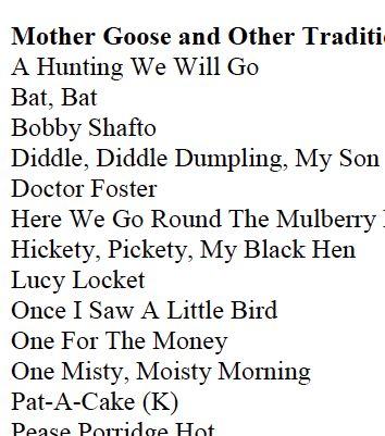Core Knowledge Preschool Sequence List Of Nursery Rhymes Poems Finger Plays Stories