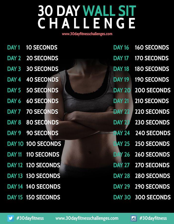 30 Day Wall Sit Challenge Fitness Workout Chart