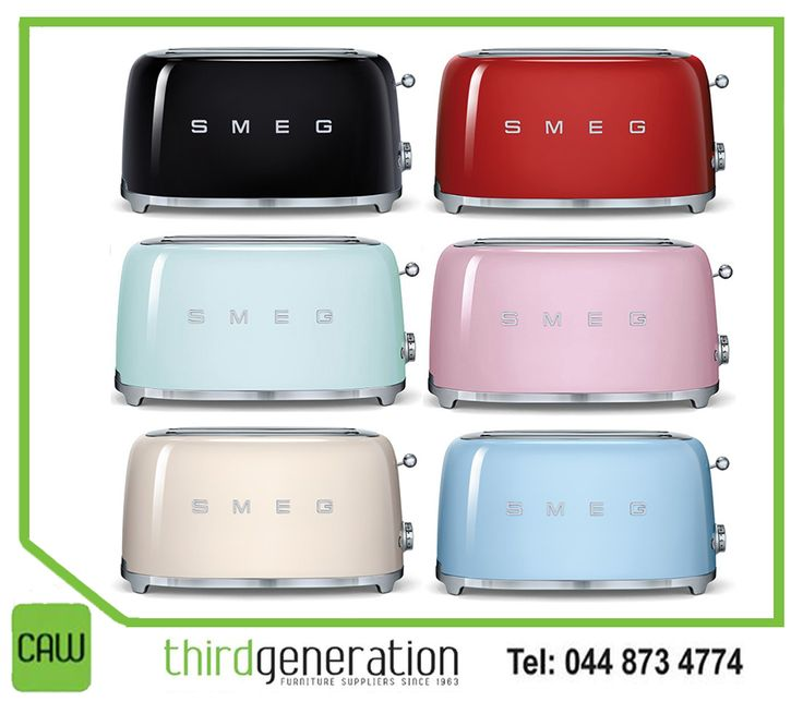 Smeg is known for its retro and durable kitchen appliances. Get this #Smeg toaster, available from #ThirdGenerationCAW. #Appliances