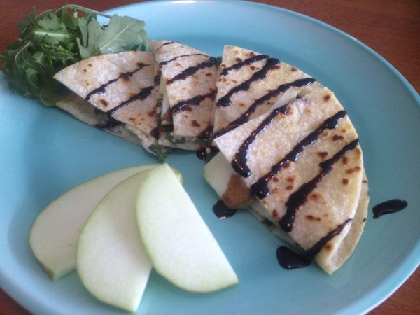 Low fat cheese, Apple, and Arugula Quesadillas  Yields: 4 servings   Serving Size: 1 quesadilla   Calories: 246   Total Fat: 12 g   Saturated Fat: 7 g   Trans Fat: 0 g   Cholesterol: 38 mg   Sodium: 143 mg   Carbohydrates: 26 g   Dietary Fiber: 2 g   Sugars: 7 g   Protein: 10 g   SmartPoints: 9