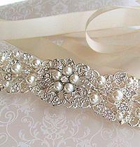 Silver wedding sash w/ rhinestone & pearls