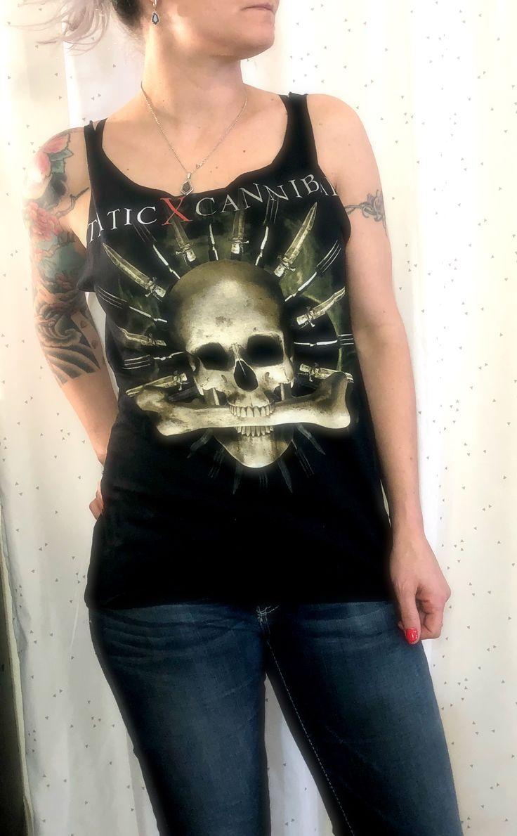 Static X Altered Tee Shirt, Static X Distressed, lace up Top, DIY Band Tee, Static X Shirt, Static X Shirt, wayne Static tee