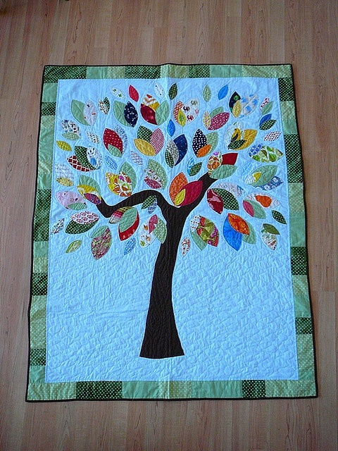 A leaf quilt. For all those gorgeous scraps.