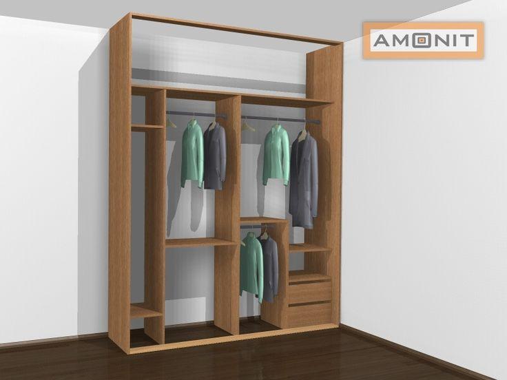 Ukázka vnitřního uspořádání vestavěné skříně - 10. varianta