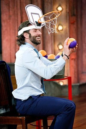 Bradley Cooper played a game of basketball while taping an appearance on Late Night With Jimmy Fallon in New York City May 13.