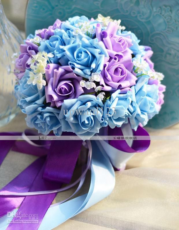Pink Blue And White Wedding Bouquets : New style handflower wedding bouquet bridal bouquets