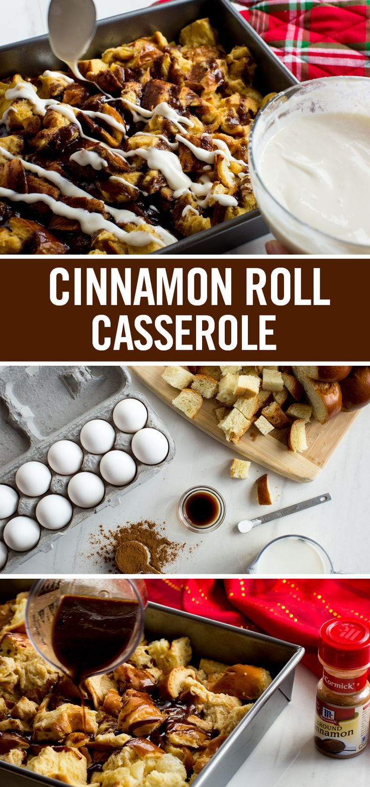 Save time and energy with our Overnight Cinnamon Roll Casserole recipe. Ingredients come together the night before – bread, milk, cinnamon and vanilla. Morning of, bake until golden brown. A final drizzle of traditional cream cheese frosting takes this Christmas brunch recipe to holiday-worthy proportions.