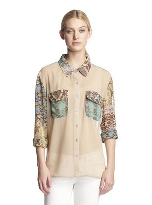 70% OFF W118 by Walter Baker Women's Sage Blouse (Snakeskin Tile)