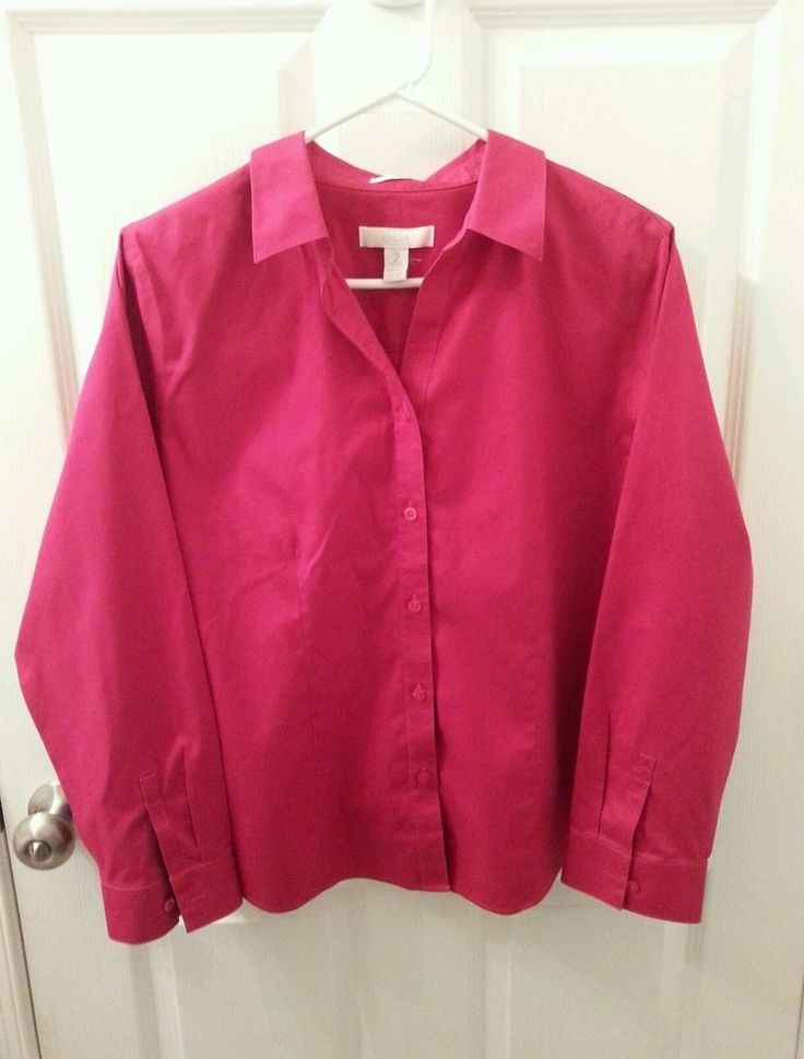 Chico 39 s size 2 size 12 red no iron button down shirt for Chicos no iron shirts