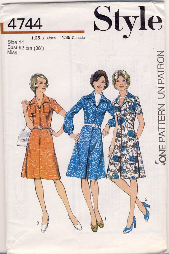 Style 4744 Vintage 1970's Shirt-Dress Size 14 by susanbeingsnippy