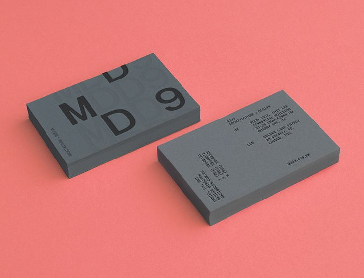 Logo and grey business card with blind deboss detail designed by Two Times Elliott for interior and architecture firm MDD9