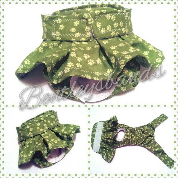 R2S Green Pawprints Small female dog diaper in by Bentleysbands, $8.00