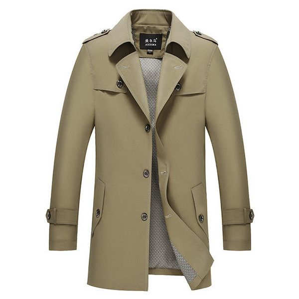 Business casual single-breasted trench coat ($58) ❤ liked on Polyvore featuring men's fashion, men's clothing, men's outerwear, men's coats, khaki, mens single breasted pea coat, mens fur lined coat, mens fur collar coat, mens single breasted trench coat and mens khaki trench coat