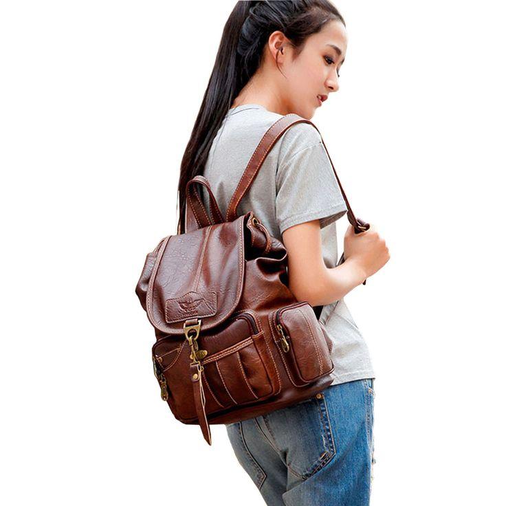 Винтажные женские рюкзак для девочек подростков Школьные ранцы Мода Большой Рюкзаки Высокое качество искусственная кожа черная сумка коричневая новая XA658H купить на AliExpress