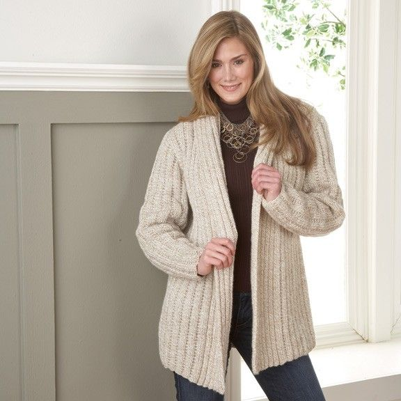 Stylish long jacket can be worn with or without a belt. Woman's Knit Cardigan. Pin now buy later.