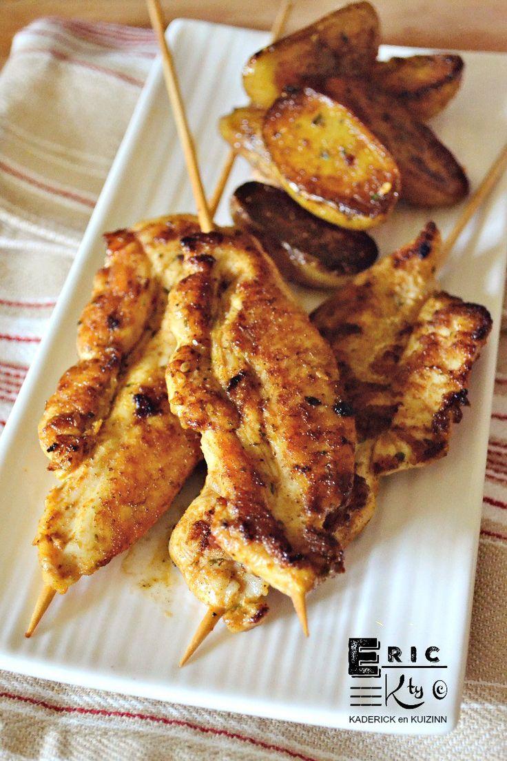 Brochettes aiguillettes de poulet aux épices à la plancha - Kaderick