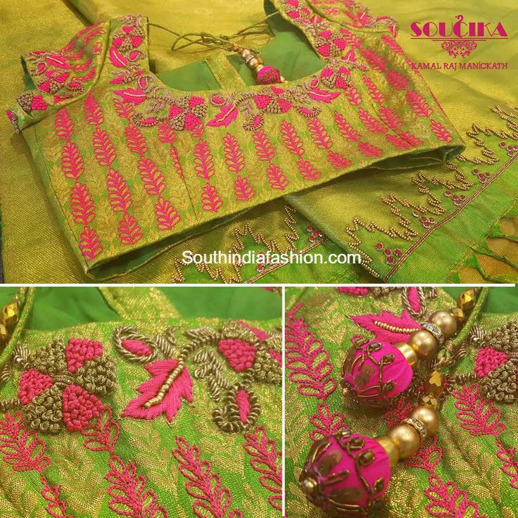 Maggam Work Silk Saree Blouse Designs by Soucika photo