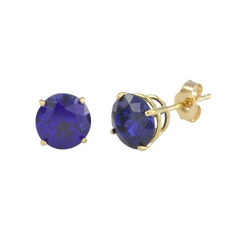 14k Yellow Gold Sapphire September Birthstone Stud Earrings 14k Yellow Gold Earrings, stamped 14k Earrings in photos 6mm, enlarged to show detail Lab Sapphire Stones Sapphire is September Birthstone B