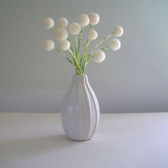 White Flower Bouquet Wool Pom Pom Felted Flowers Snowdrops Dandelions One Dozen Rose Buds