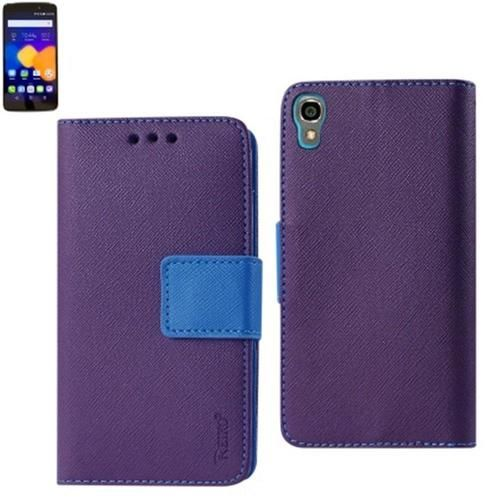 Reiko Wallet Case 3 In 1 For Alcatel Onetouch Idol 3 5.5Inches With Interior Leather-Like Material & Polymer Cover-Purple