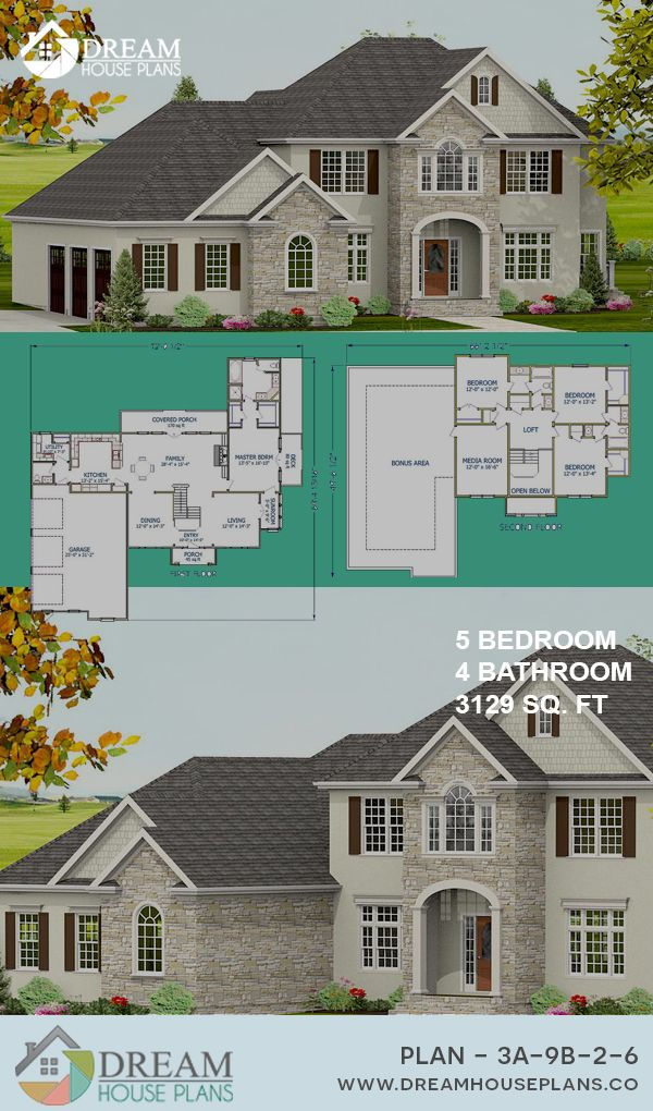 Dream House Plans Best Traditional 5 Bedroom 3129 Sq Ft Home Plan With Wrap Around Porch O Dream House Plans Southern Living House Plans House Blueprints