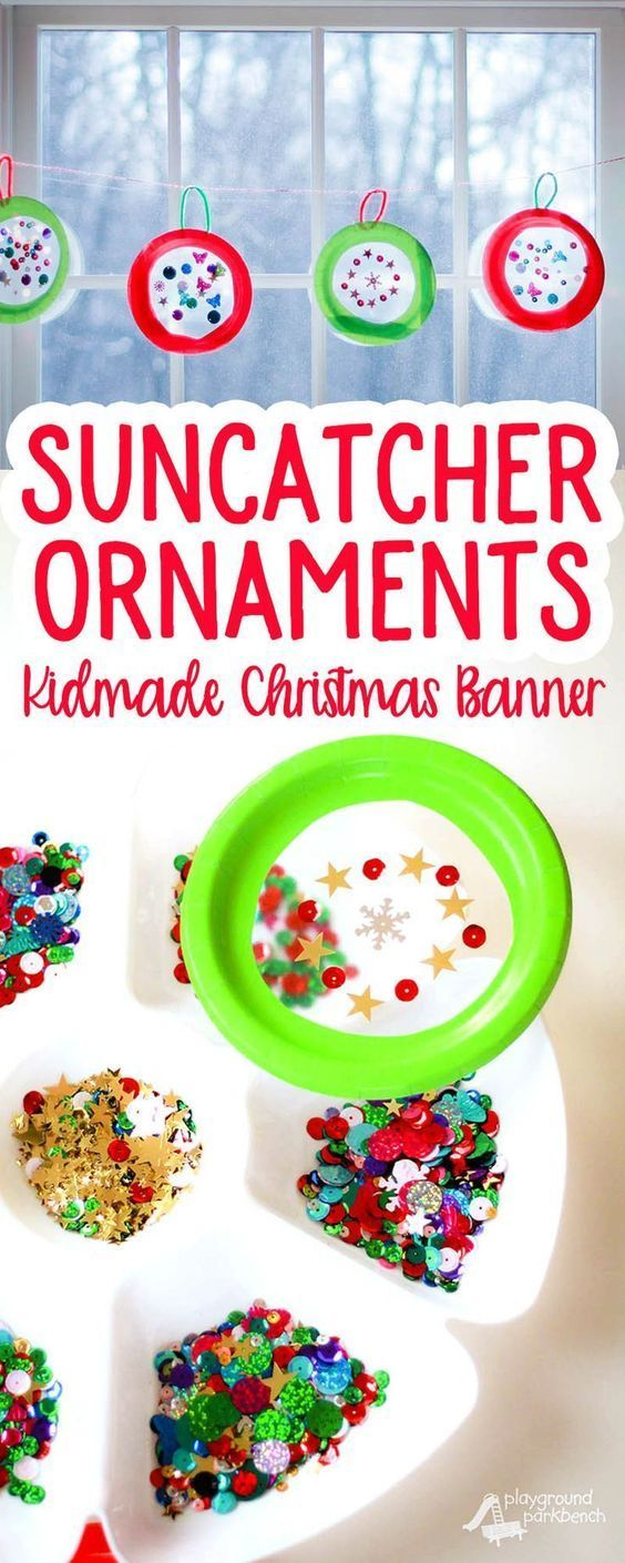 Let your kids help create their own Christmas decor with this simple Suncatcher Christmas Ornament Christmas Banner.