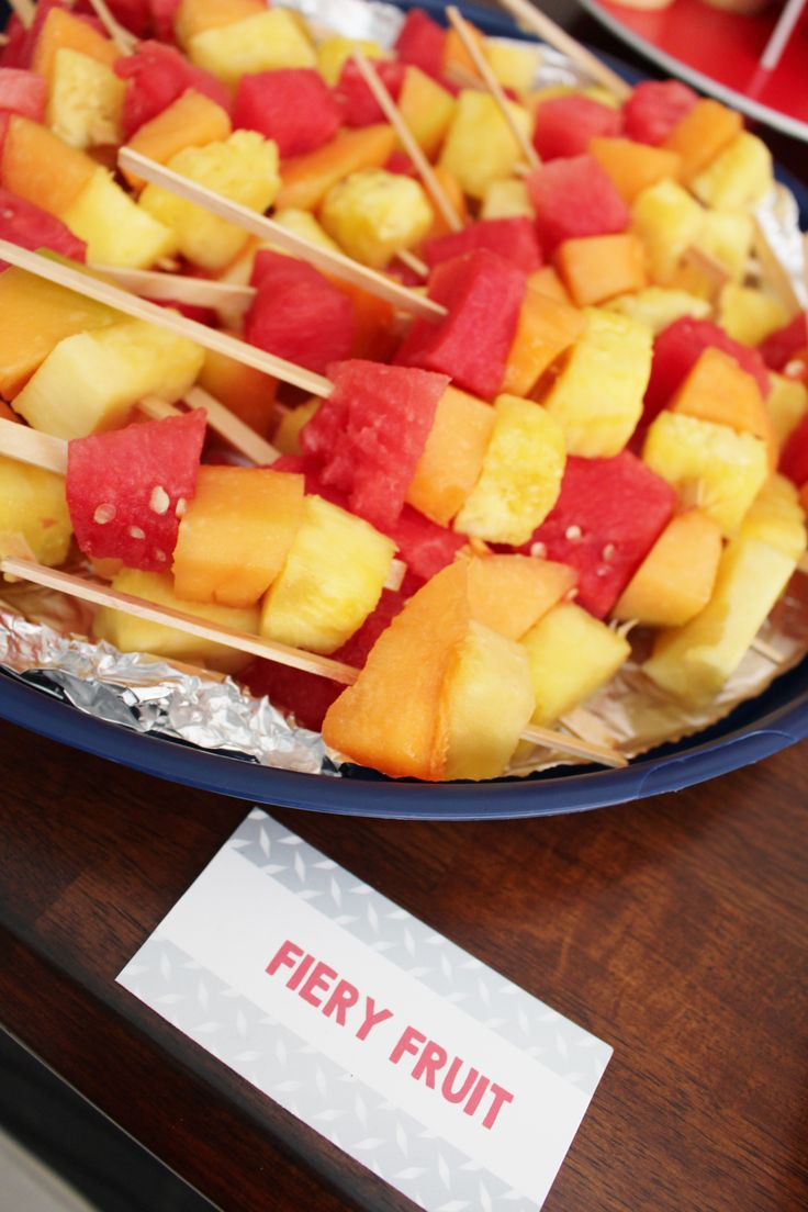"""""""Fiery Fruit"""" for a fireman theme birthday party!"""