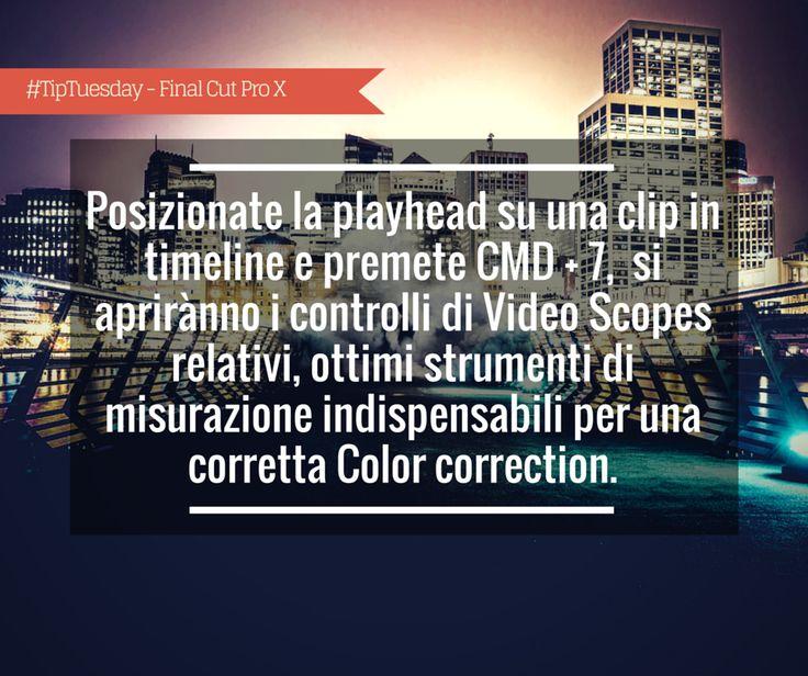 #TipTuesday - Giorgio Lovecchio: Posizionate la playhead su una clip in timeline e premete CMD + 7,  si apriranno i controlli di Video Scopes relativi, ottimi strumenti di misurazione indispensabili per una corretta Color correction.
