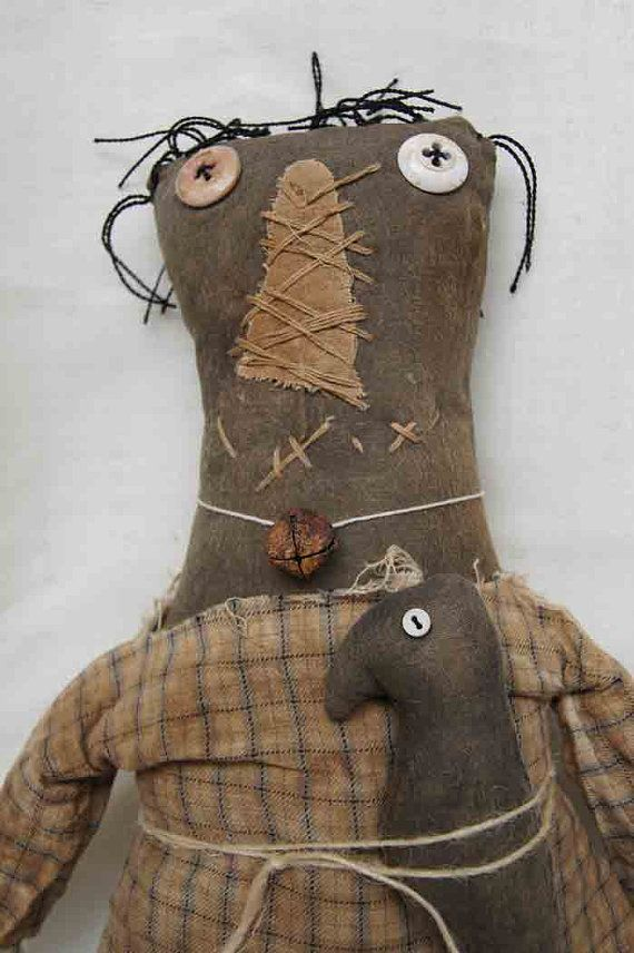 Primitive Grungy Doll MERLA by WeeArtThings on Etsy, £29.50