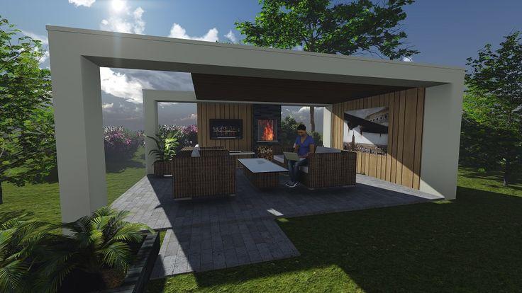 Impressie moderne veranda, wit met accenten in onbehandeld hout. Door Signatuur Rijssen ( www.signatuurrijssen.nl )