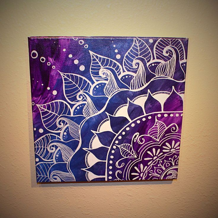 Mandala - Purple & Navy. 12x12 Original Art. Canvas. Acrylic. by UpFromAshes on Etsy https://www.etsy.com/listing/210781661/mandala-purple-navy-12x12-original-art