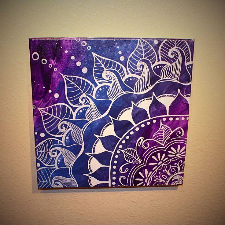 Mandala - Purple & Navy. 12x12 Original Art. Canvas. Acrylic. by UpFromAshes on Etsy https://www.etsy.com/listing/210781661/mandala-purple-navy-12x12-original-art