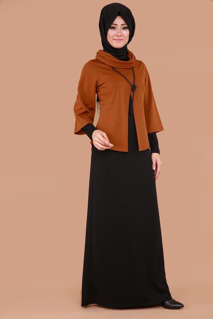 Bluzu Seyyar İnci Kolyeli Elbise Tarçın Ürün Kodu: KNZ3113 -->