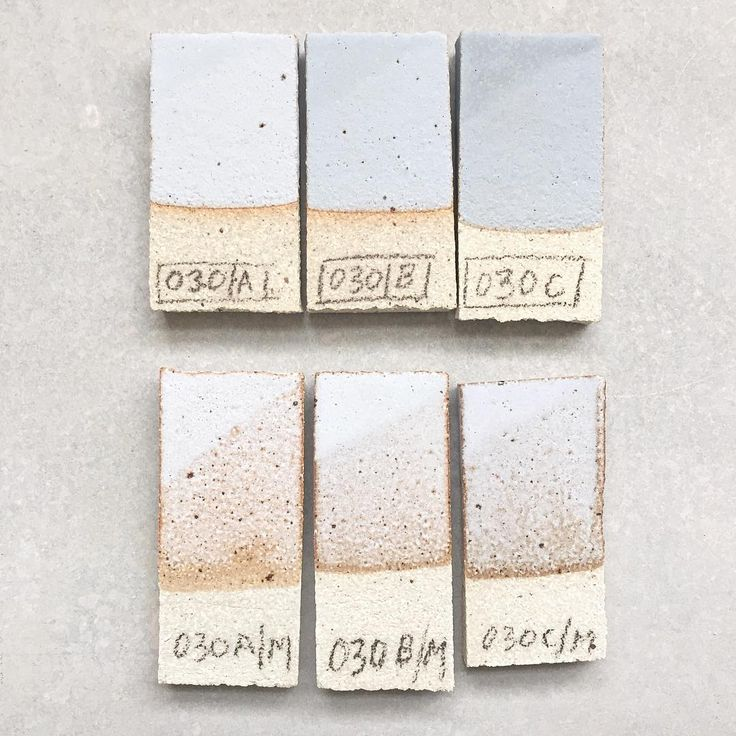 This is an old Lucy Rie recipe we tested some time back to use as a base glaze for adding stain powders to. It's very flat, bordering on being chalky, but without the dryness of similar glazes we've tested. The finish is very, very beautiful - as you would expect from Rie of course. The tests in the pic have all had varying amounts of stain powders added to them to give the grey colour, and the corners are double dipped to give a sense of a thicker application. The base recipe with no…