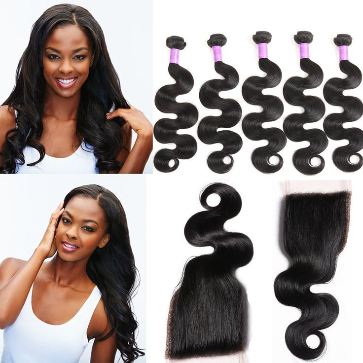 Jif Hair Grade 8A Brazilian Remy Body Wave Hair 5 Bundles 50g/Bundle Virgin Unprocessed Weave Hair Extensions with 4X4 Lace Closure(12 14 14 16 18 +Closure12)