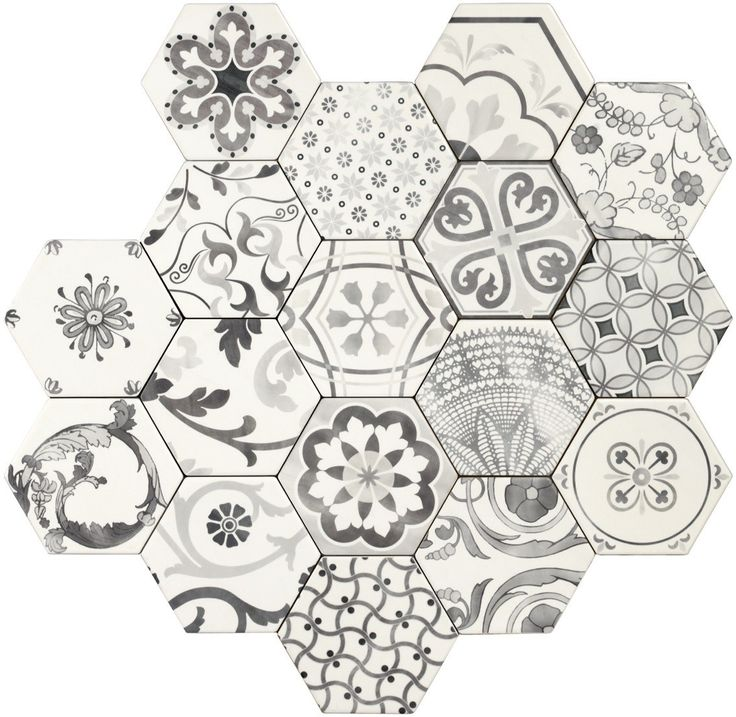 Tonalite Examatt Esagona Bianco Decoro Mix Matt 17.1x15 см - Каталог керамической плитки, керамогранита и мозаики: - VIP КЕРАМИКА - магазин-салон керамической плитки в СПб