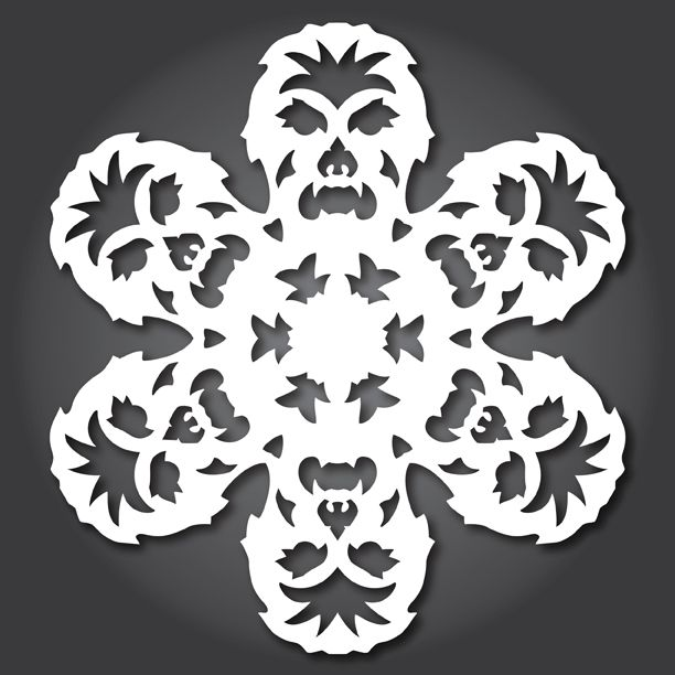 Chewbacca snowflake from Anthony Herrera's site with lots of downloadable instructions and patterns for other Star Wars snow flakes.