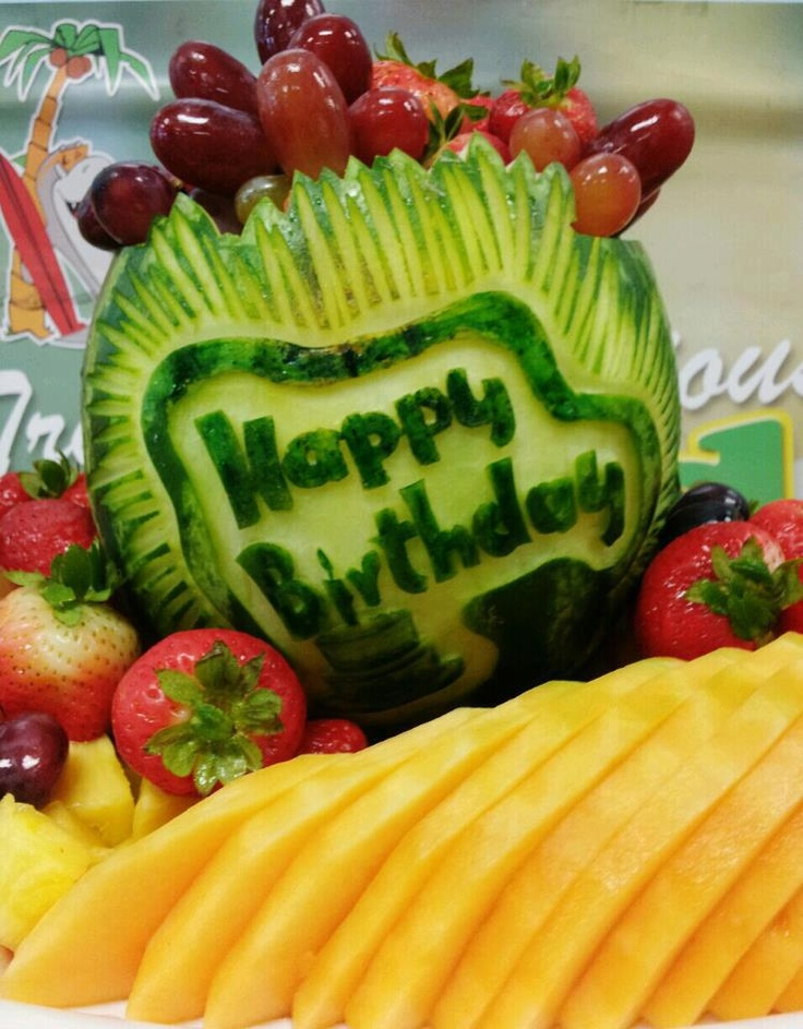 Fruit carving happy birthday food art