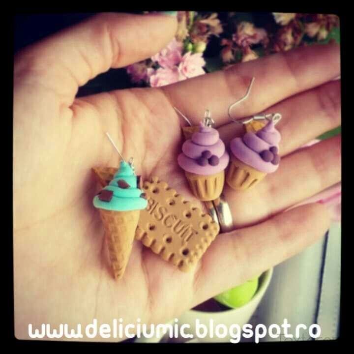 Handmade cupcake and icecream earrings