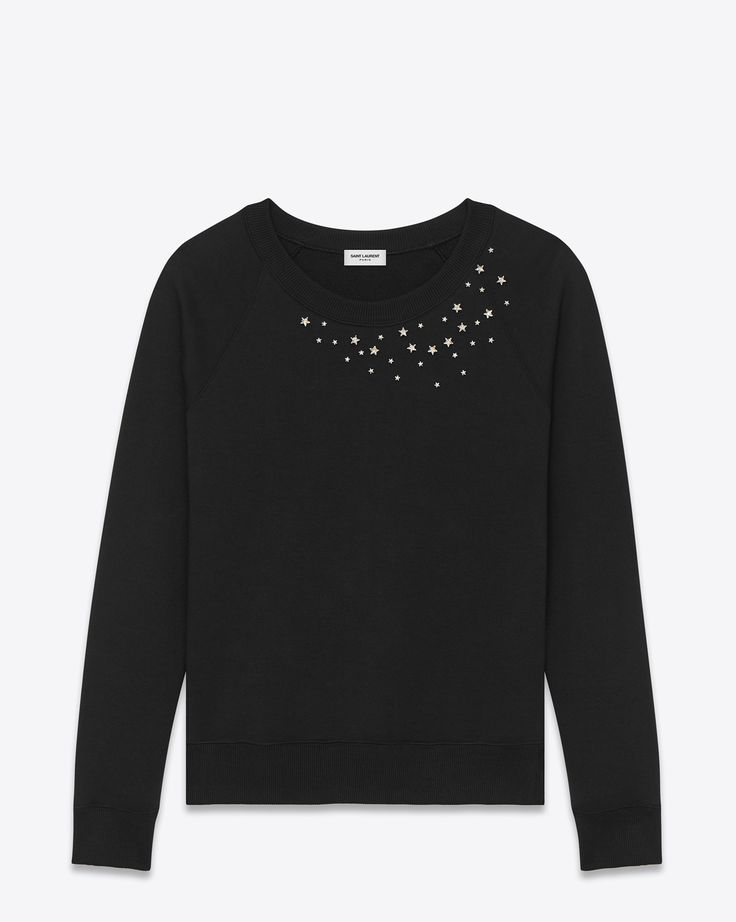 Saint Laurent Star Studded Crewneck Sweatshirt In Black French Terrycloth And Clear Crystal | YSL.com