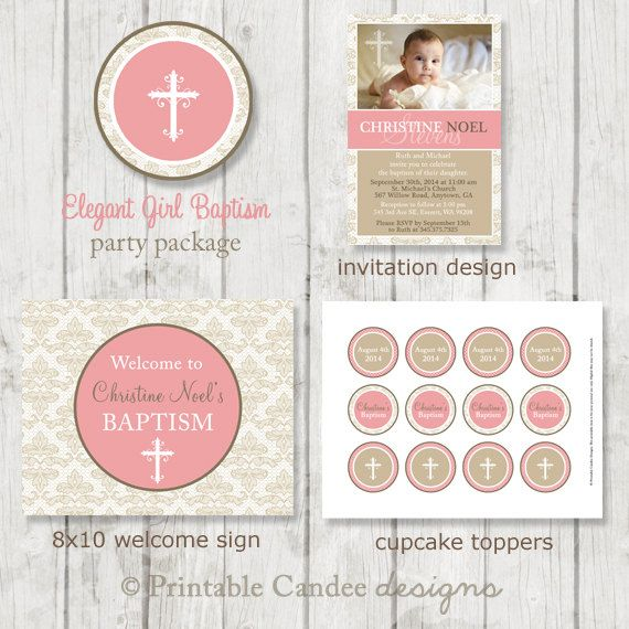 Elegant Girl Baptism Party Package  DIY by printablecandee on Etsy