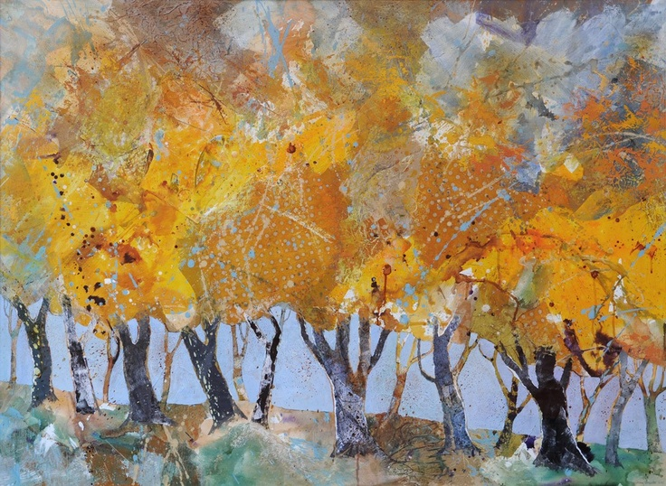 Jenny Grevatte - Row of Trees, Autumn  http://www.goldmarkart.com/all-art/all-artists/jenny-grevatte/row-of-trees-autumn.html