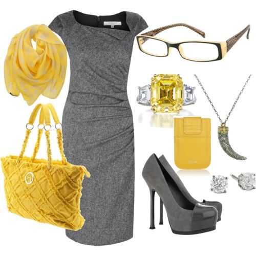 Infuse color into your work wardrobe through accessoriesColors Combos, Fashion, Style, Clothing, Grey Yellow, Work Outfit, The Dresses, Grey Dresses, Gray Yellow