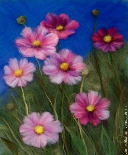 Картины цветов ручной работы. Ярмарка Мастеров - ручная работа. Купить Космеи. Handmade. Разноцветный, шерсть, оригинальный подарок, лето