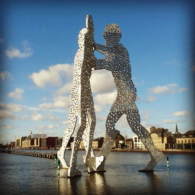 """""""The #molecules of all human being coming together to create our #existence"""" : Molecule Man sculpture on #Spree river, #Berlin #Treptow #iloveberlin #instagram"""