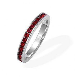 Sterling Silver January Birthstone Garnet CZ Eternity Band Ring